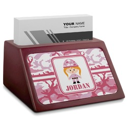 Pink Camo Red Mahogany Business Card Holder (Personalized)