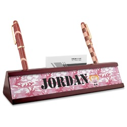 Pink Camo Red Mahogany Nameplate with Business Card Holder (Personalized)