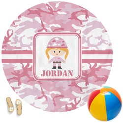 Pink Camo Round Beach Towel (Personalized)
