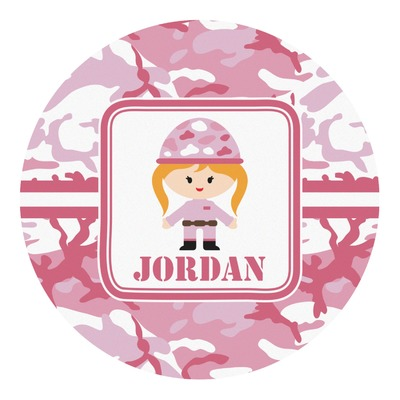 Pink Camo Round Decal (Personalized)