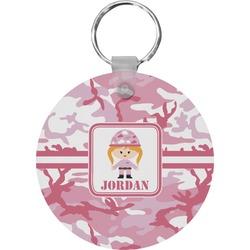 Pink Camo Round Keychain (Personalized)