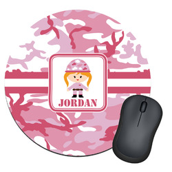 Pink Camo Round Mouse Pad (Personalized)