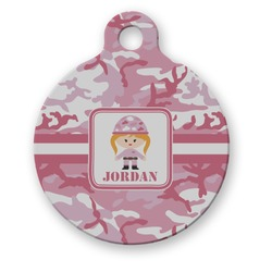 Pink Camo Round Pet ID Tag (Personalized)