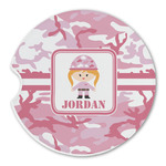Pink Camo Sandstone Car Coasters (Personalized)
