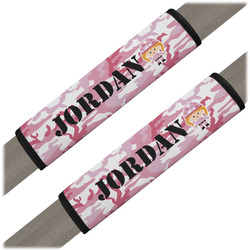 Pink Camo Seat Belt Covers (Set of 2) (Personalized)