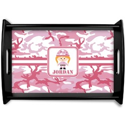 Pink Camo Black Wooden Tray (Personalized)