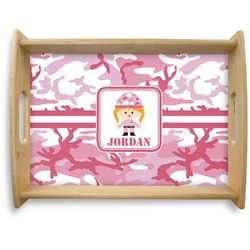 Pink Camo Natural Wooden Tray - Large (Personalized)