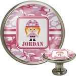 Pink Camo Cabinet Knob (Silver) (Personalized)