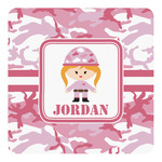 Pink Camo Square Decal - Custom Size (Personalized)