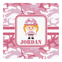 Pink Camo Square Wall Decal (Personalized)