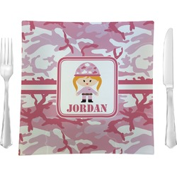 Pink Camo Glass Square Lunch / Dinner Plate 9.5