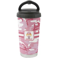 Pink Camo Stainless Steel Travel Mug (Personalized)
