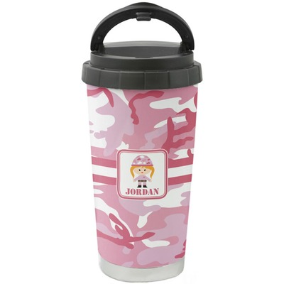 Pink Camo Stainless Steel Coffee Tumbler (Personalized)