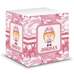 Pink Camo Sticky Note Cube (Personalized)