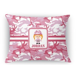 Pink Camo Rectangular Throw Pillow Case (Personalized)