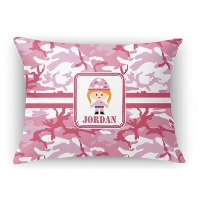 Pink Camo Rectangular Throw Pillow Case (Personalized)