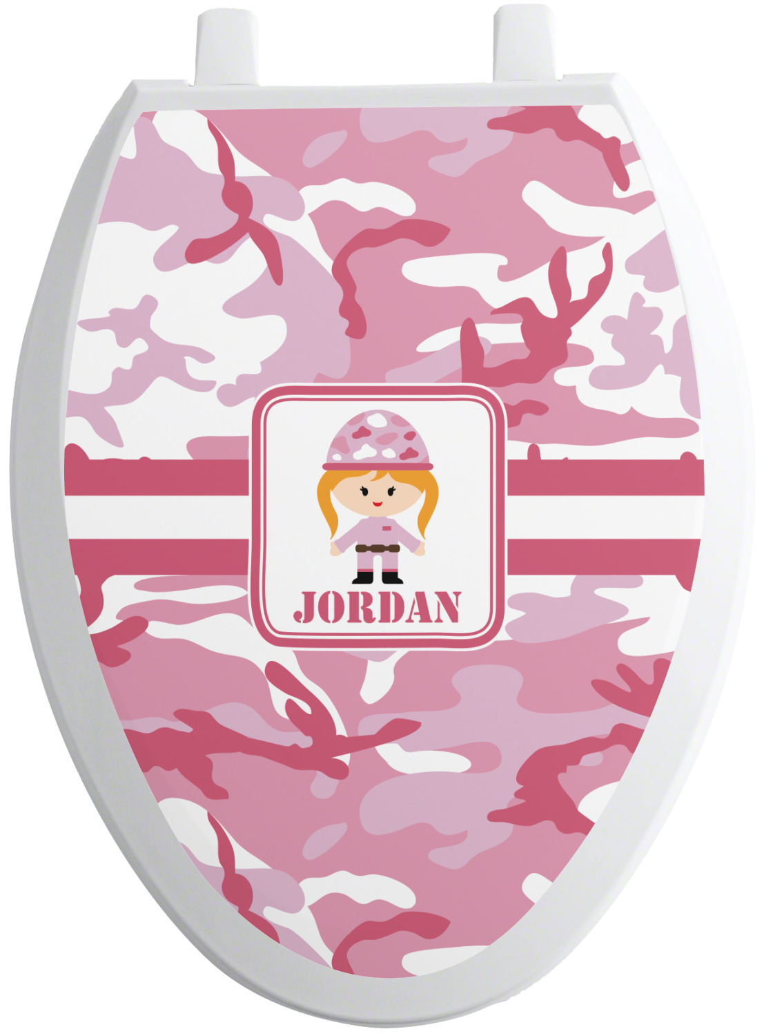 Pink Camo Toilet Seat Decal Elongated Personalized
