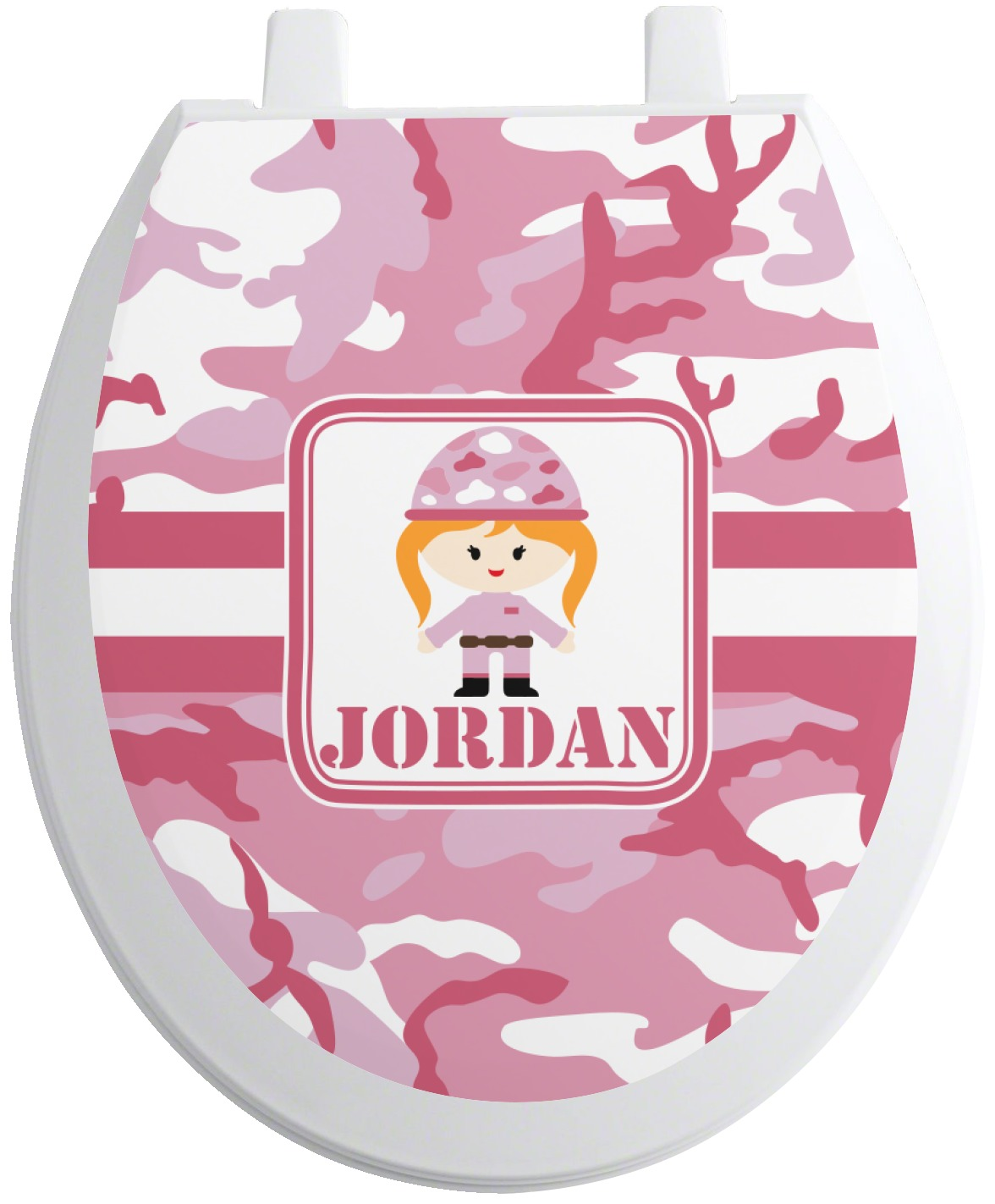 pink camo toilet seat decal round personalized. Black Bedroom Furniture Sets. Home Design Ideas