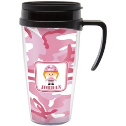 Pink Camo Travel Mug with Handle (Personalized)