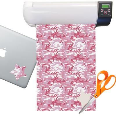 Pink Camo Sticker Vinyl Sheet (Permanent)
