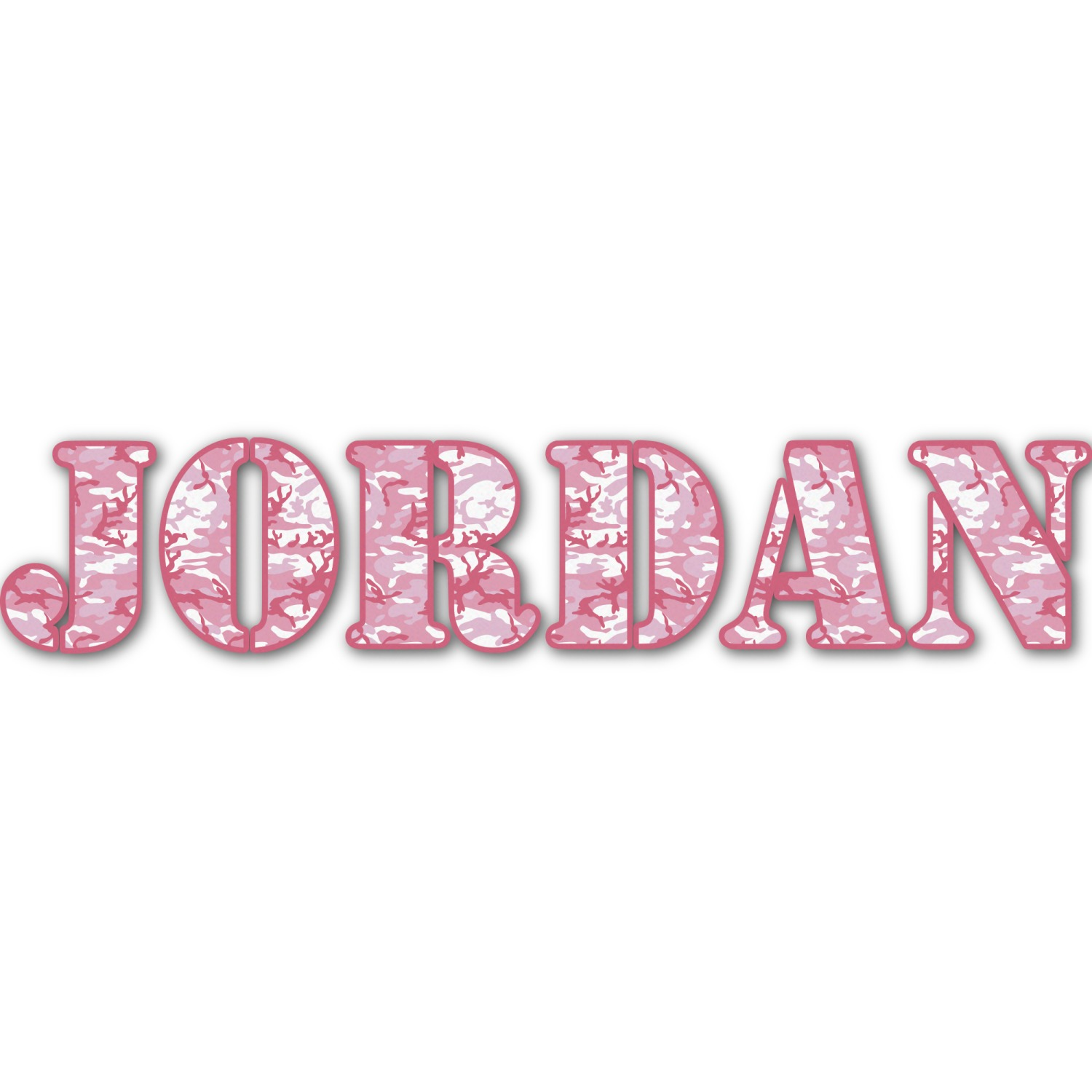 Pink Camo Name Text Decal Large Personalized
