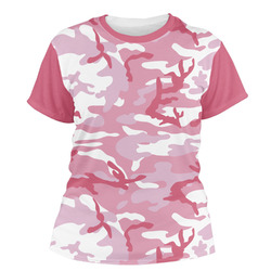 Pink Camo Women's Crew T-Shirt (Personalized)