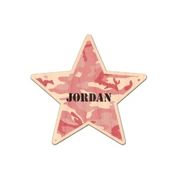 Pink Camo Genuine Maple or Cherry Wood Sticker (Personalized)
