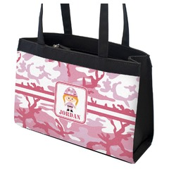 Pink Camo Zippered Everyday Tote w/ Name or Text