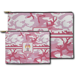 Pink Camo Zipper Pouch (Personalized)