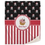 Pirate & Stripes Sherpa Throw Blanket (Personalized)