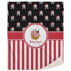 "Pirate & Stripes Sherpa Throw Blanket - 50""x60"" (Personalized)"
