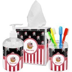 Pirate & Stripes Acrylic Bathroom Accessories Set w/ Name or Text