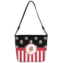 Pirate & Stripes Bucket Bag w/ Genuine Leather Trim (Personalized)