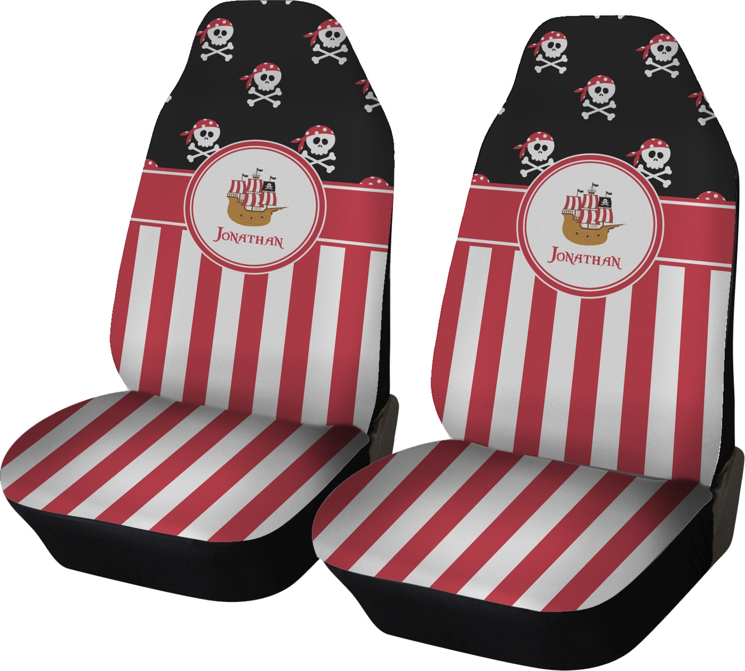 Admirable Pirate Stripes Car Seat Covers Set Of Two Personalized Dailytribune Chair Design For Home Dailytribuneorg