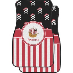 Pirate & Stripes Car Floor Mats (Front Seat) (Personalized)