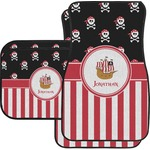 Pirate & Stripes Car Floor Mats Set - 2 Front & 2 Back (Personalized)