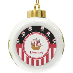 Pirate & Stripes Ceramic Ball Ornament (Personalized)
