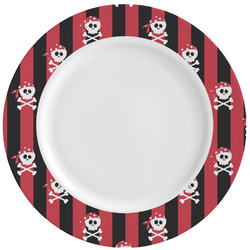 Pirate & Stripes Ceramic Dinner Plates (Set of 4) (Personalized)