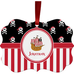 Pirate & Stripes Metal Frame Ornament - Double Sided w/ Name or Text