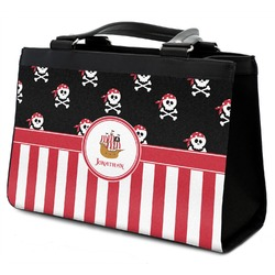 Pirate & Stripes Classic Tote Purse w/ Leather Trim w/ Name or Text