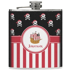 Pirate & Stripes Genuine Leather Flask (Personalized)