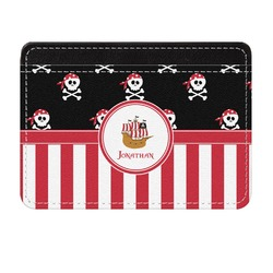 Pirate & Stripes Genuine Leather Front Pocket Wallet (Personalized)