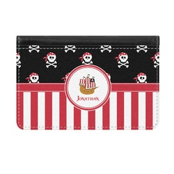 Pirate & Stripes Genuine Leather ID & Card Wallet - Slim Style (Personalized)