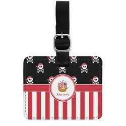 Pirate & Stripes Genuine Leather Rectangular  Luggage Tag (Personalized)