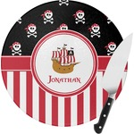 Pirate & Stripes Round Glass Cutting Board (Personalized)