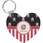 Pirate & Stripes Heart Keychain (Personalized)