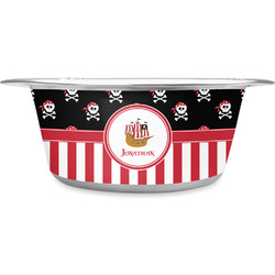 Pirate & Stripes Stainless Steel Pet Bowl (Personalized)