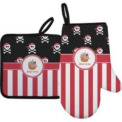 Pirate & Stripes Oven Mitt & Pot Holder Set w/ Name or Text