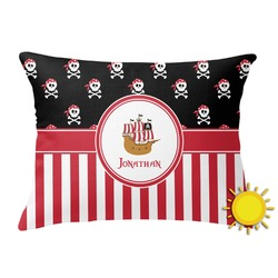 Pirate & Stripes Outdoor Throw Pillow (Rectangular) (Personalized)