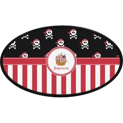 Pirate & Stripes Oval Trailer Hitch Cover (Personalized)